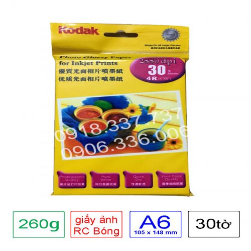 Giấy in ảnh Kodak RC định lượng 260g A6